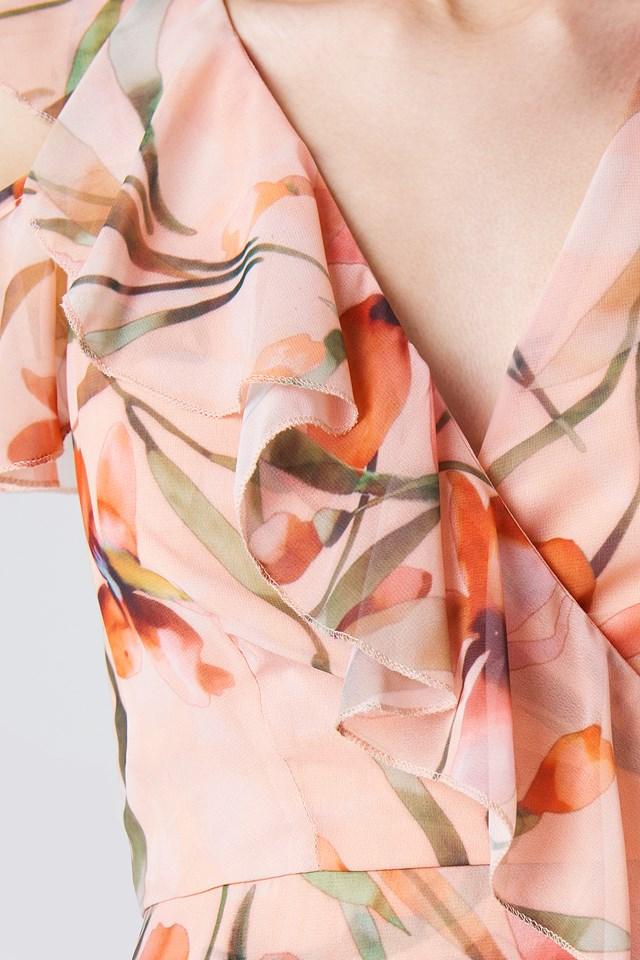 Cold Shoulder Flower Dress Powder Pink