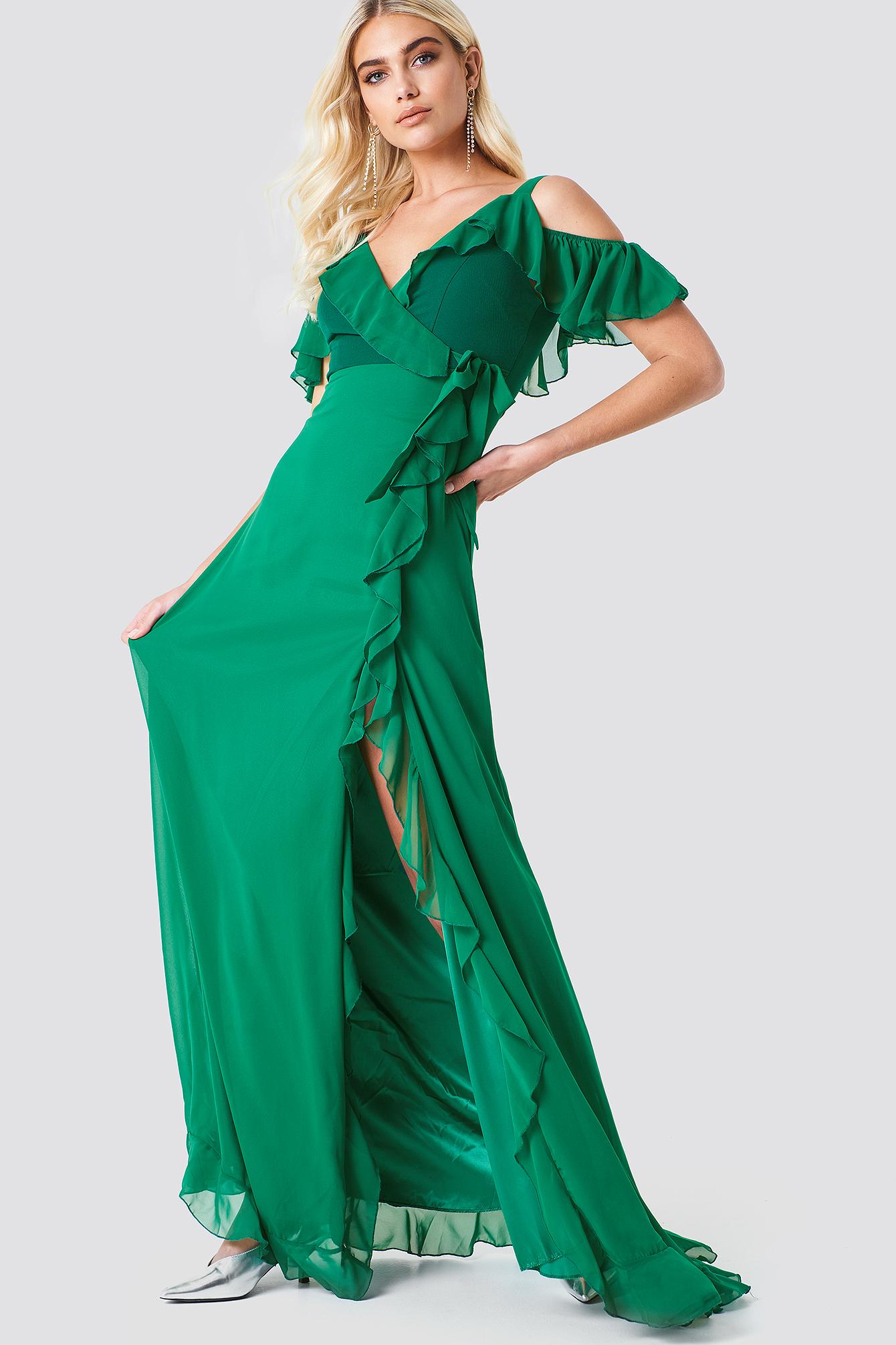 Cold Shoulder Frill Maxi Dress NA-KD.COM