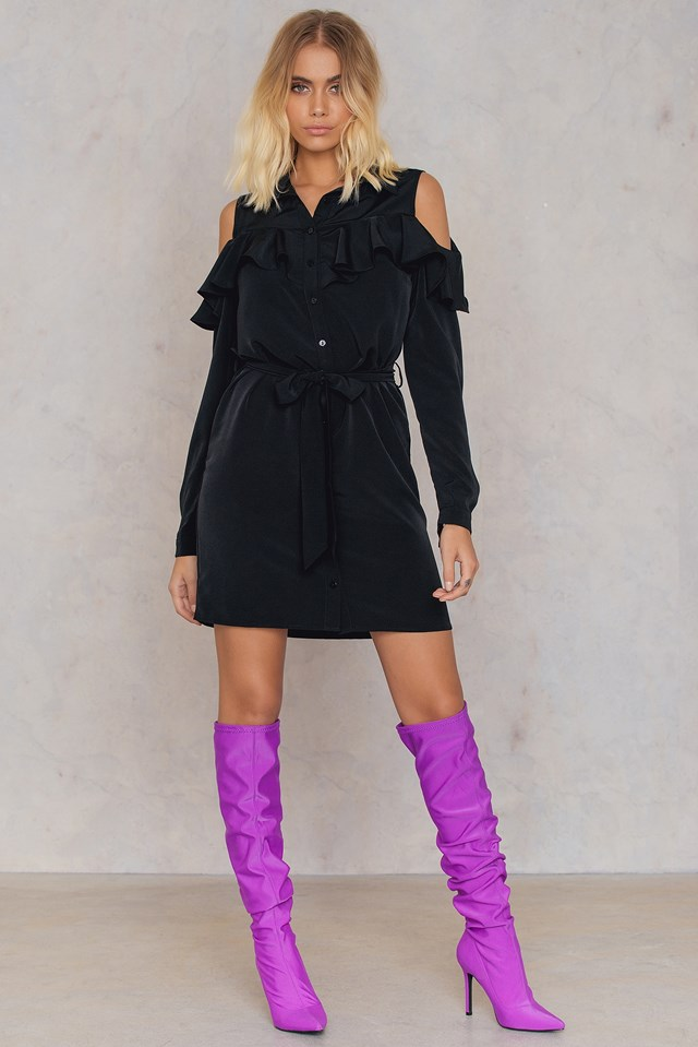 Cold Shoulder Frill Shirt Dress Black