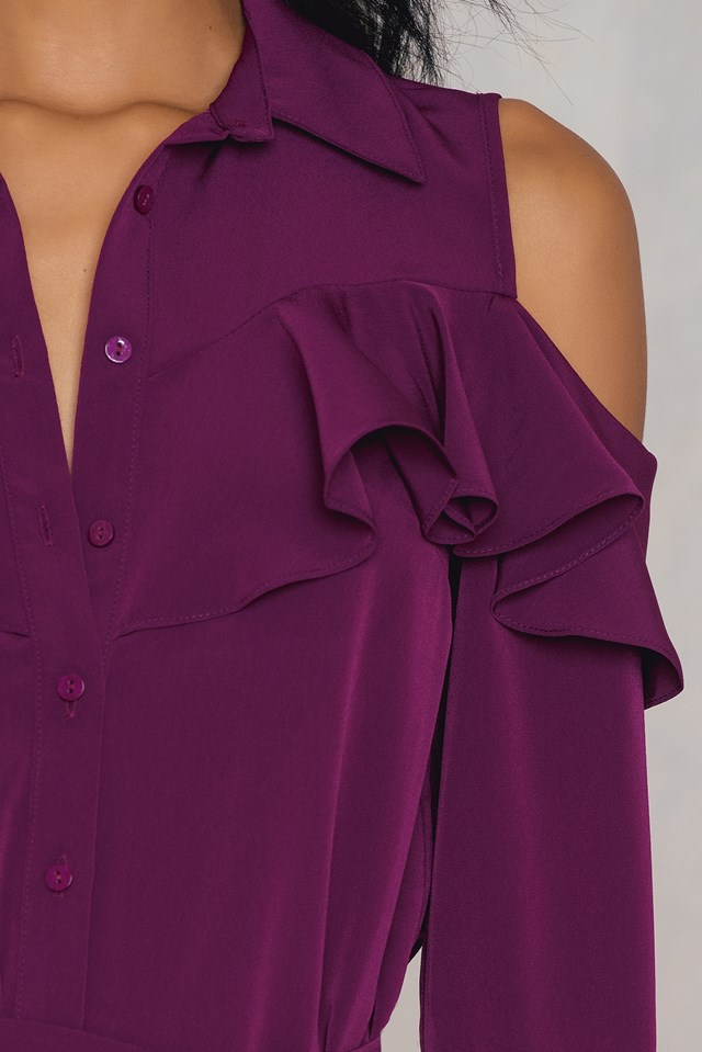 Sukienka koszulowa z odkrytymi ramionami Damson