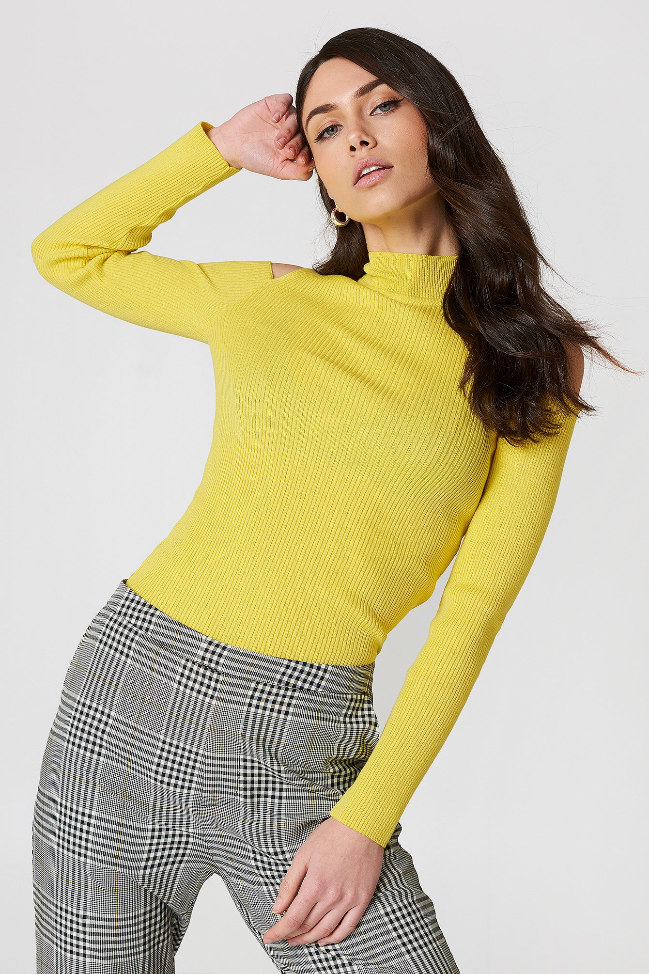Trendyol Cold Shoulder Polo Top - Yellow 1494-000317-0024