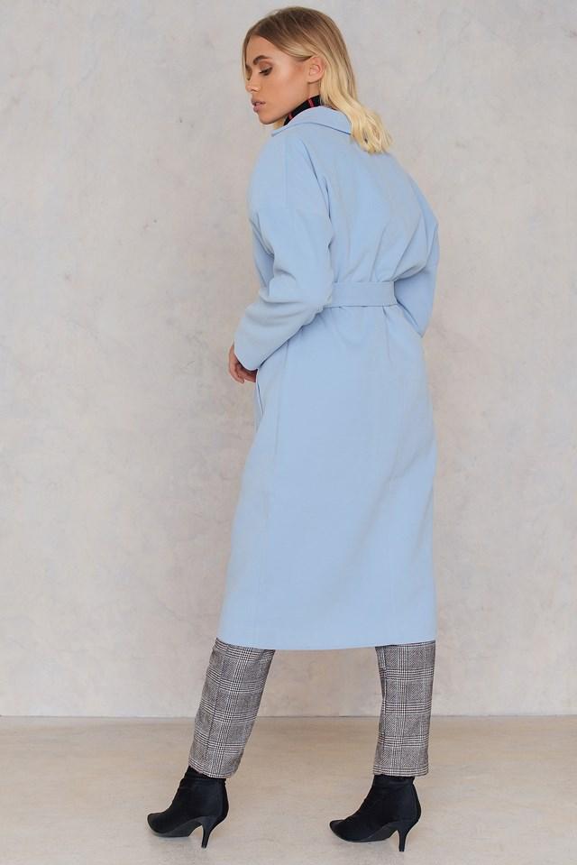 Collar Belt Coat Blue
