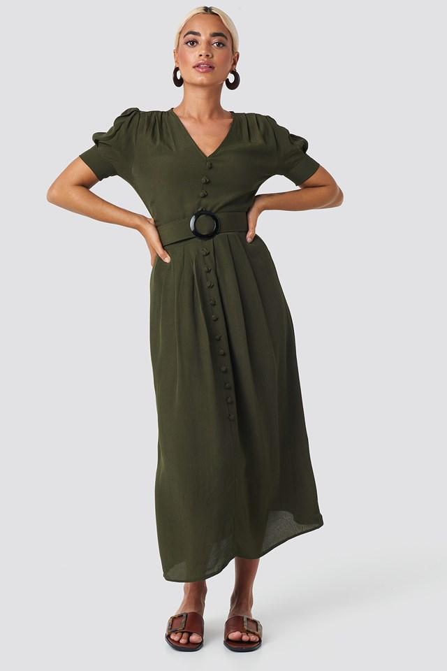 Collar Detail Midi Dress NA-KD.COM