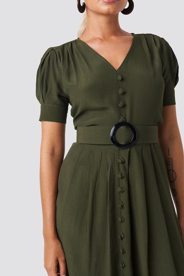 Collar Detail Midi Dress Green