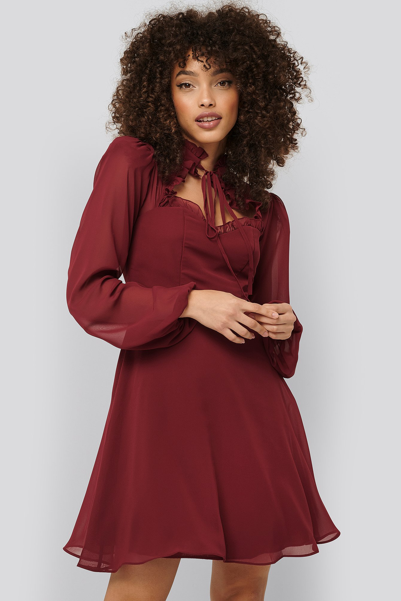 trendyol -  Minikleid Aus Chiffon - Red