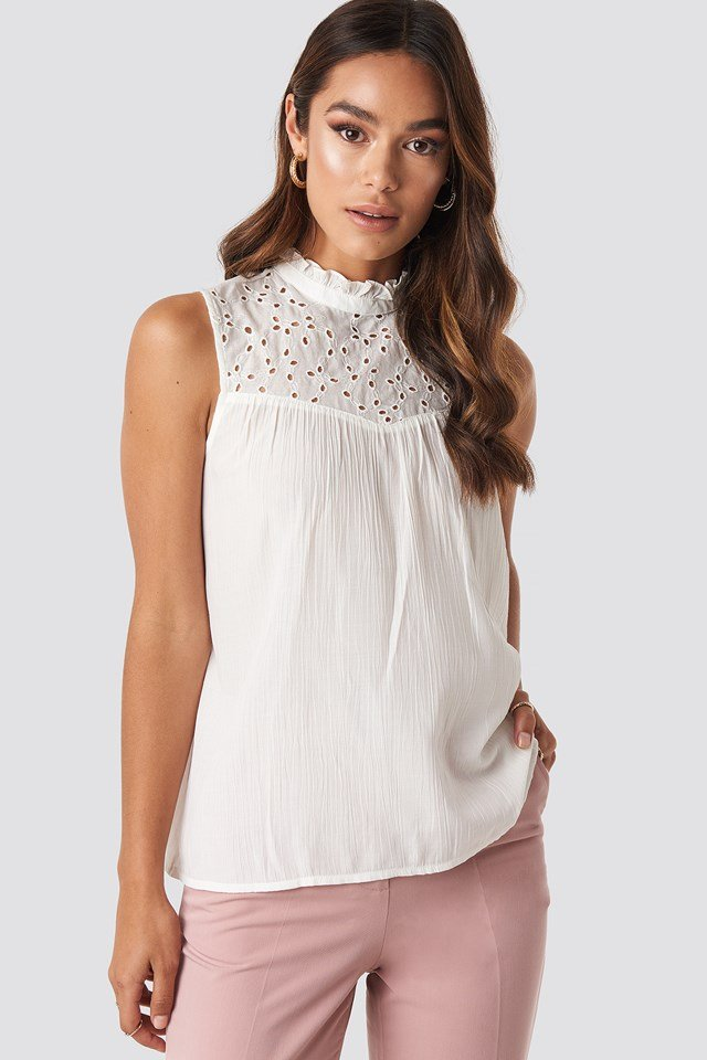 Collar Detailed Top White