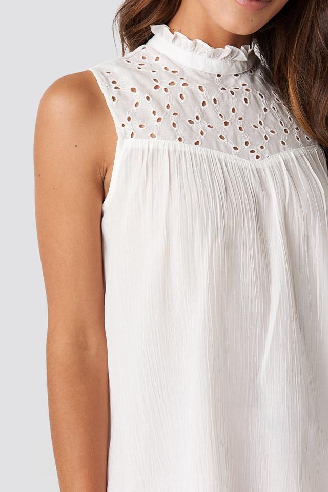 Collar Detailed Top White