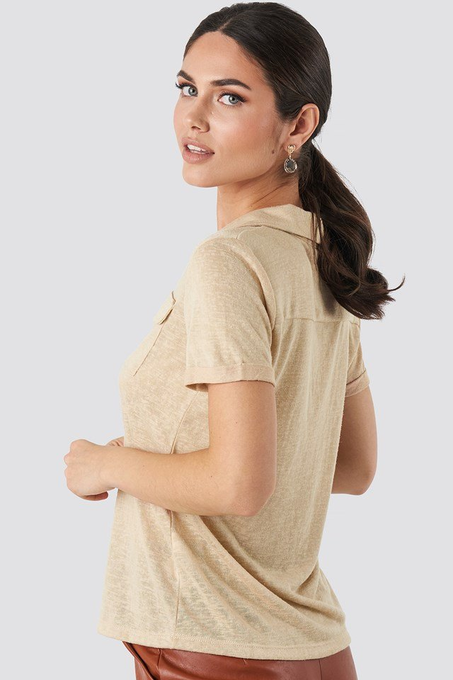 Collar Pocket Detailed Tee Beige
