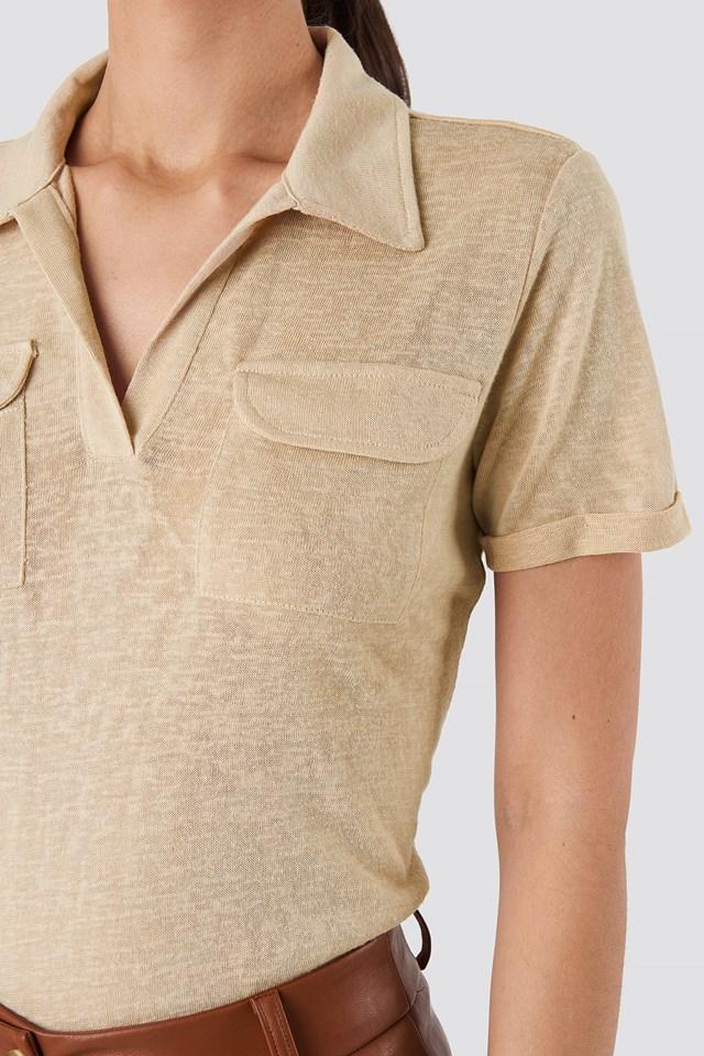 Collar Pocket Detailed Tee Beige