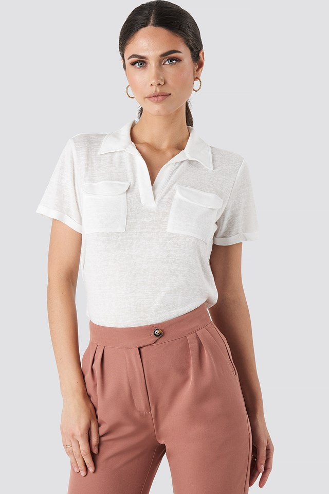 Collar Pocket Detailed Tee Ecru