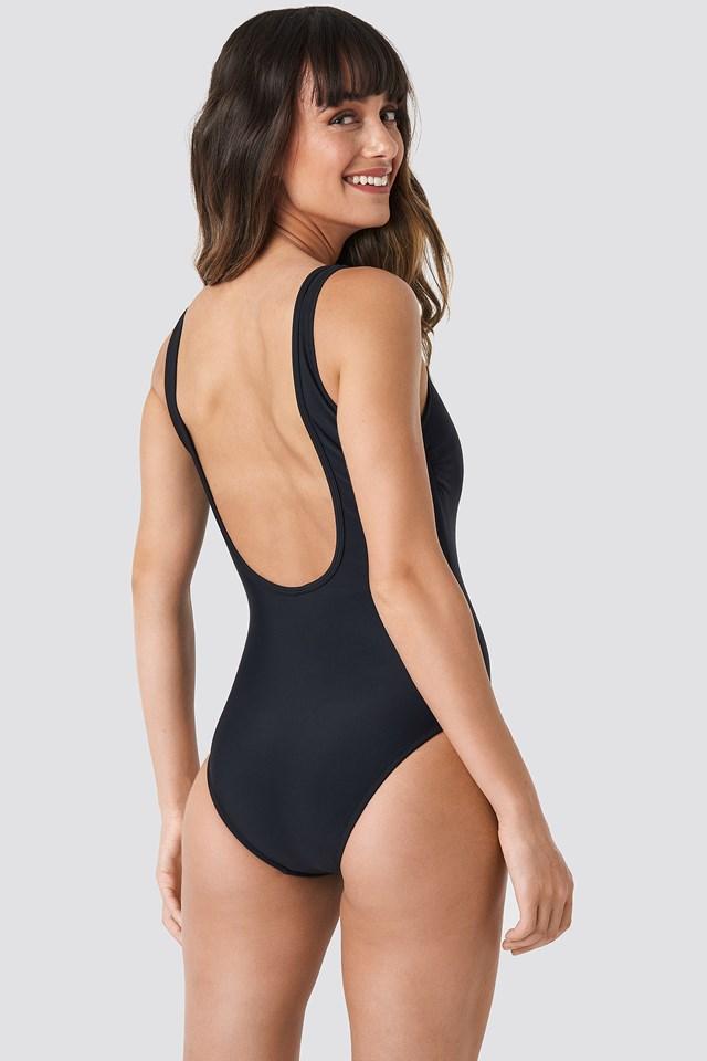 Collar V Detailed Swimsuit Black