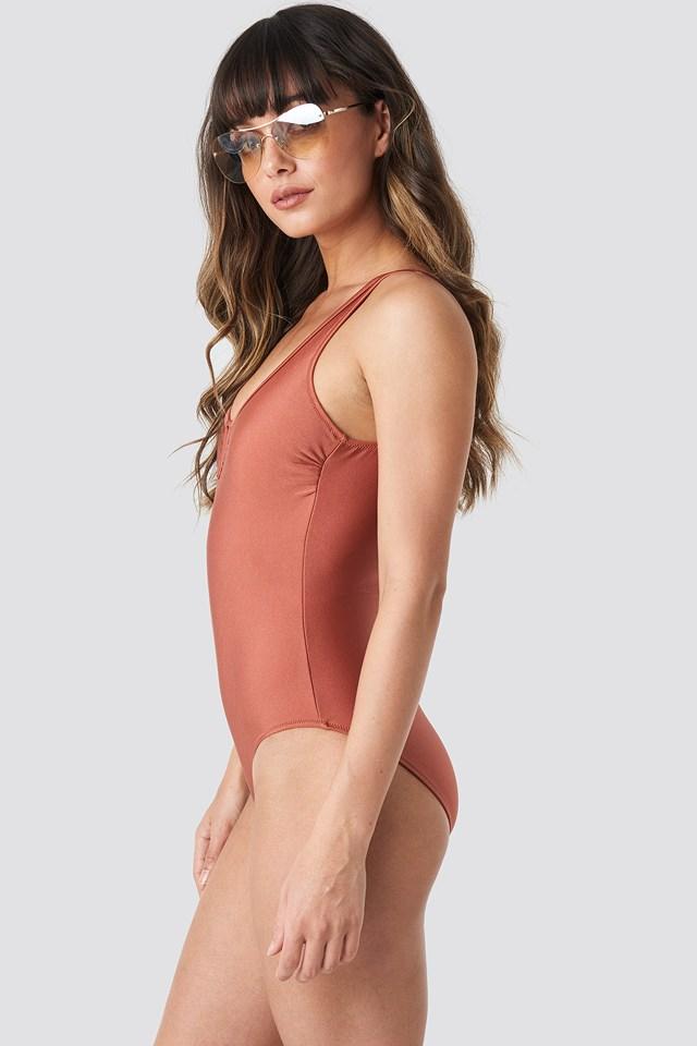 Collar V Detailed Swimsuit NA-KD.COM