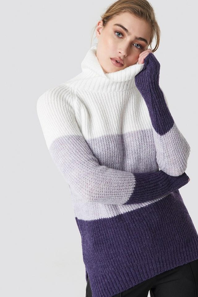 Color Blocked High Neck Sweater Trendyol