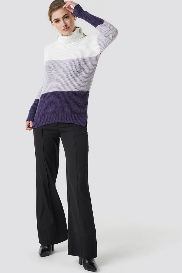 Color Blocked High Neck Sweater Ecru