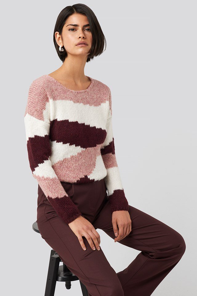 Color Blocked Knitted Sweater Dusty Rose
