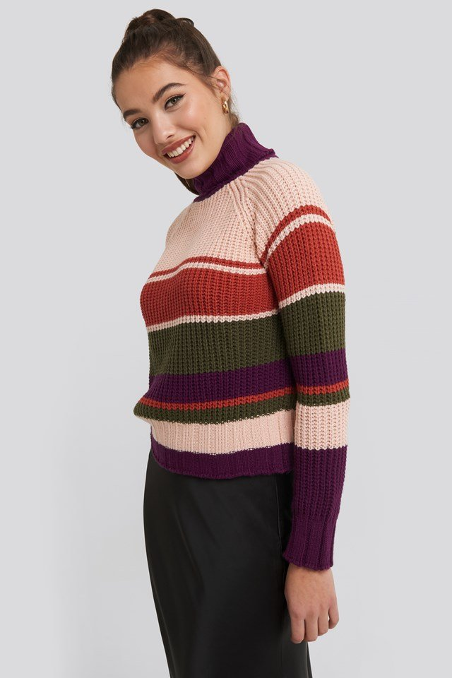 Color Blocked Sweater Purple