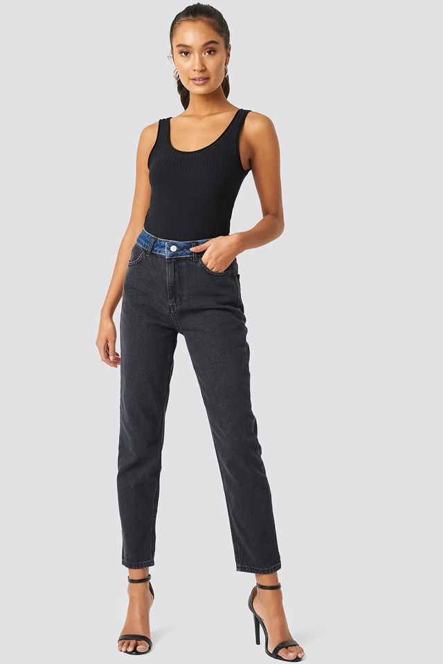 Color Blocky High Waist Mom Jeans Black