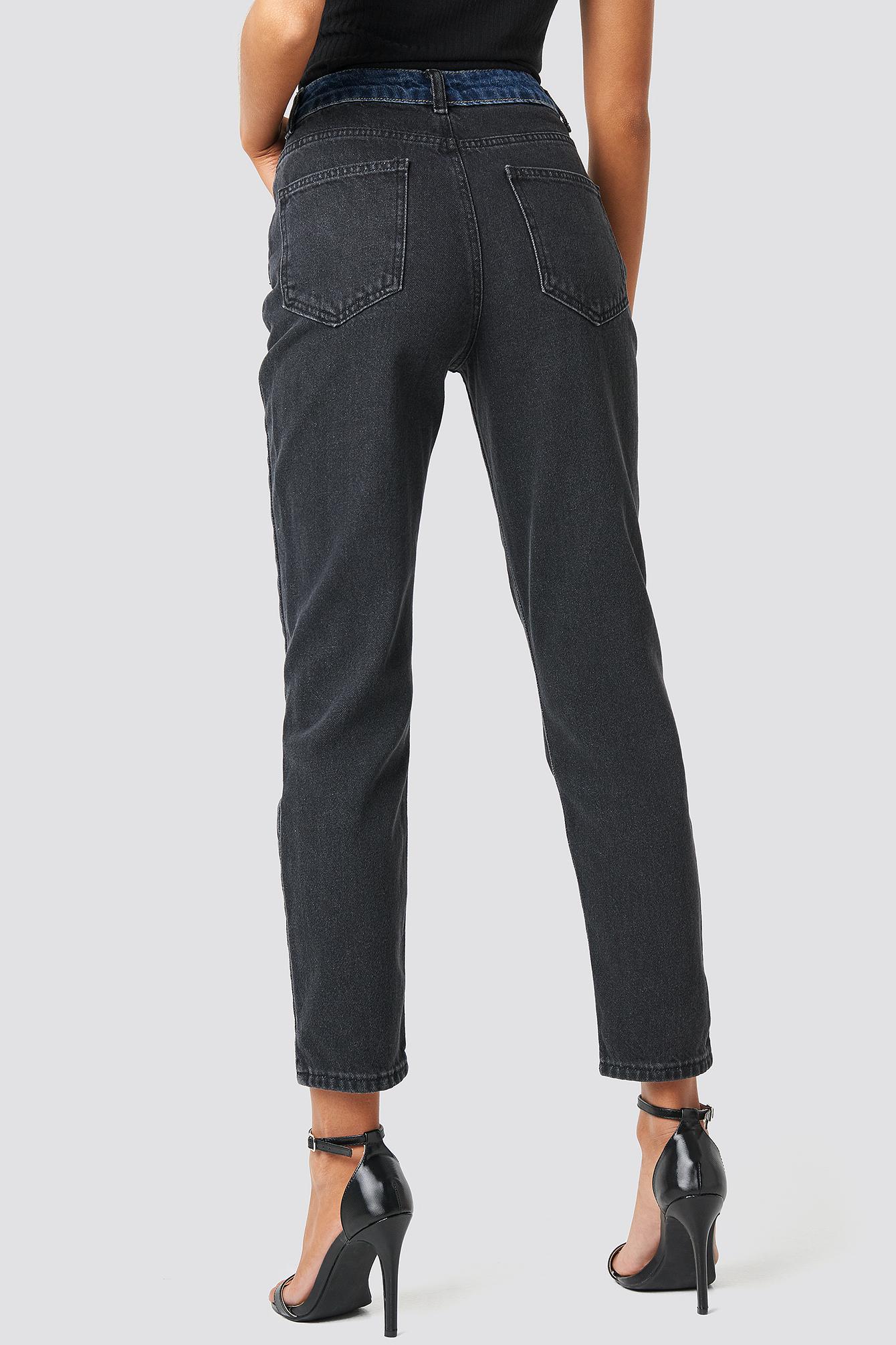 Color Blocky High Waist Mom Jeans NA-KD.COM