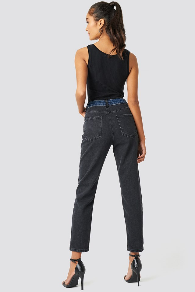 Color Blocky High Waist Mom Jeans Black