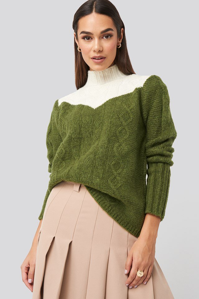 Colorblock Knitted Sweater Green