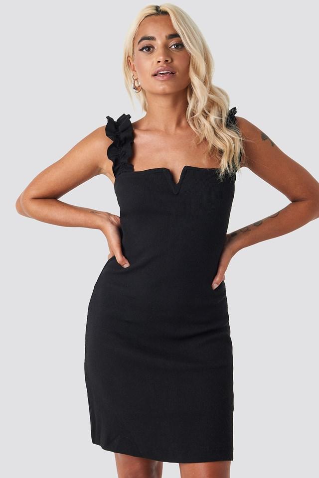 Corded Mini Dress Black