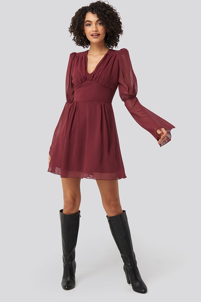 Corsage Detailed Mini Dress Burgundy