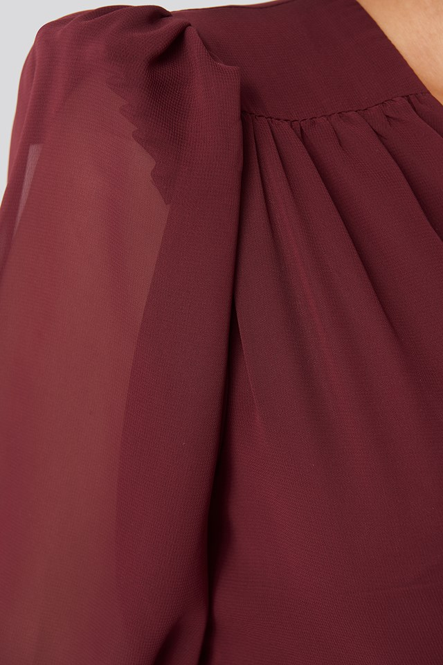 Corsage Detailed Mini Dress Burgundy