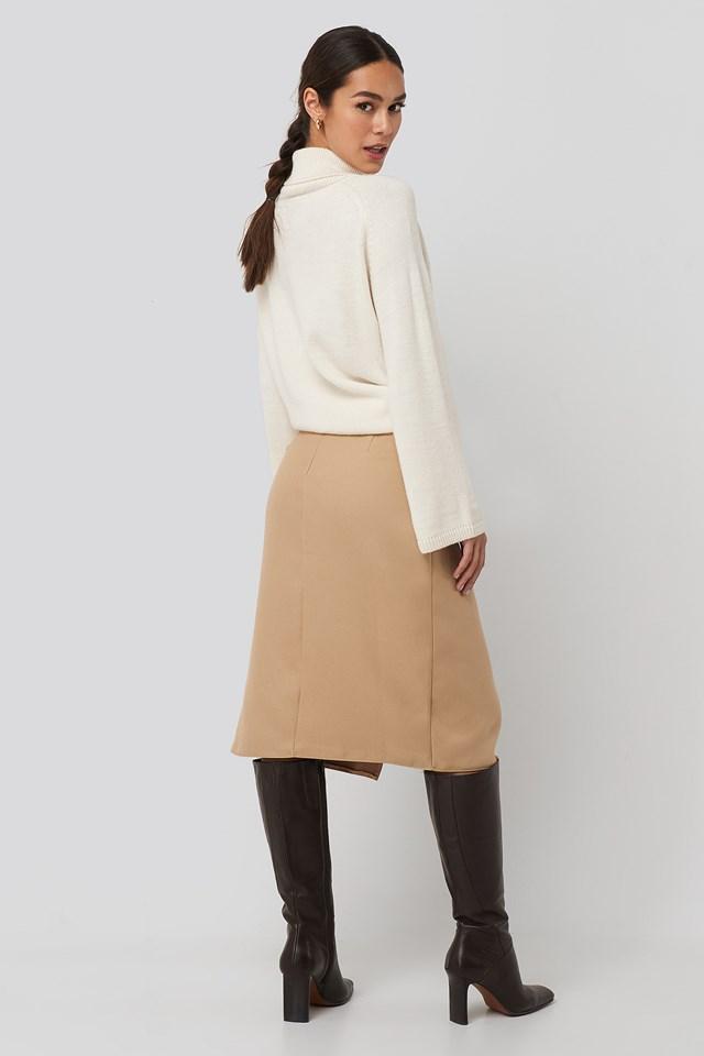 Cream Belt Detailed Skirt Cream