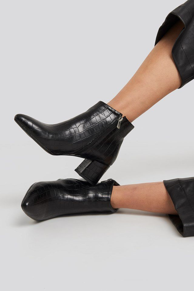 Croco Ankle Boots Black