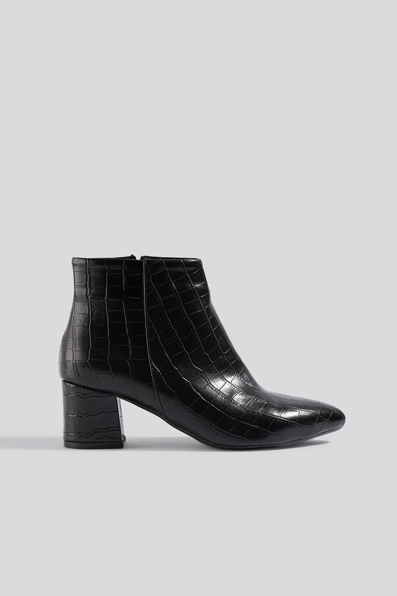 trendyol -  Croco Ankle Boots - Black