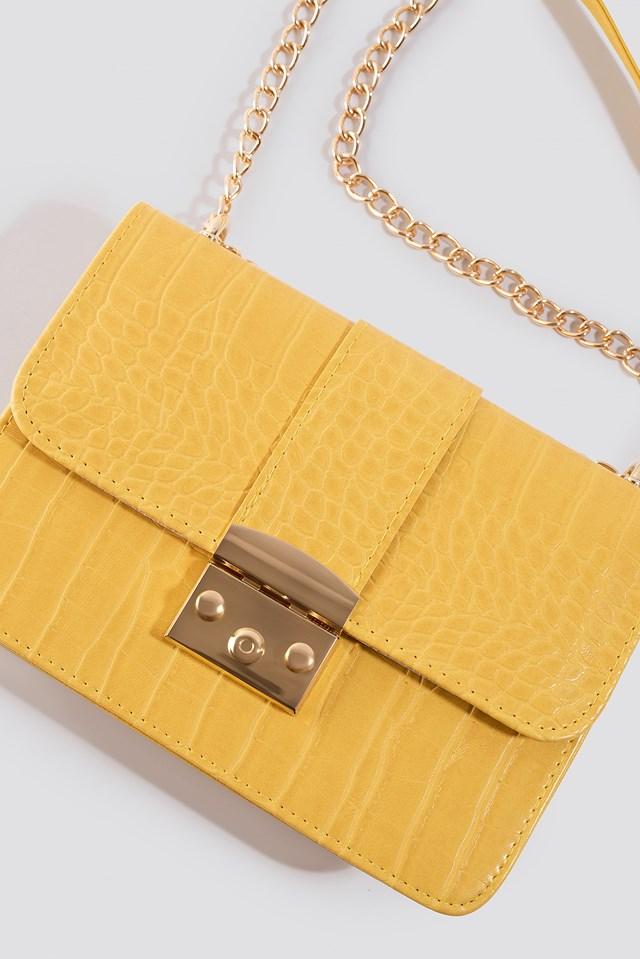 Croco Detailed Shoulder Bag Yellow