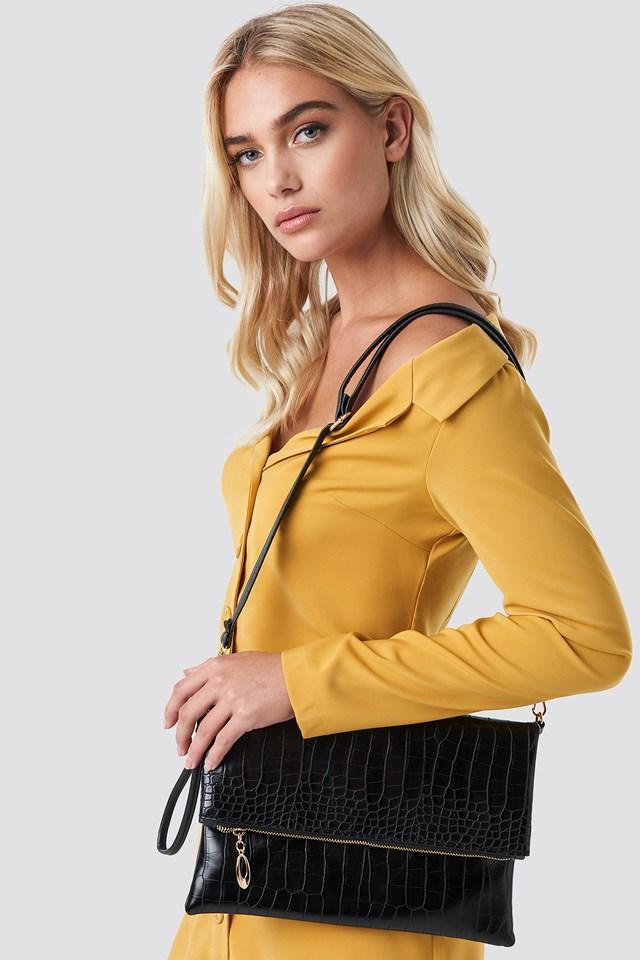 Croco Patterned Shoulder Bag Black
