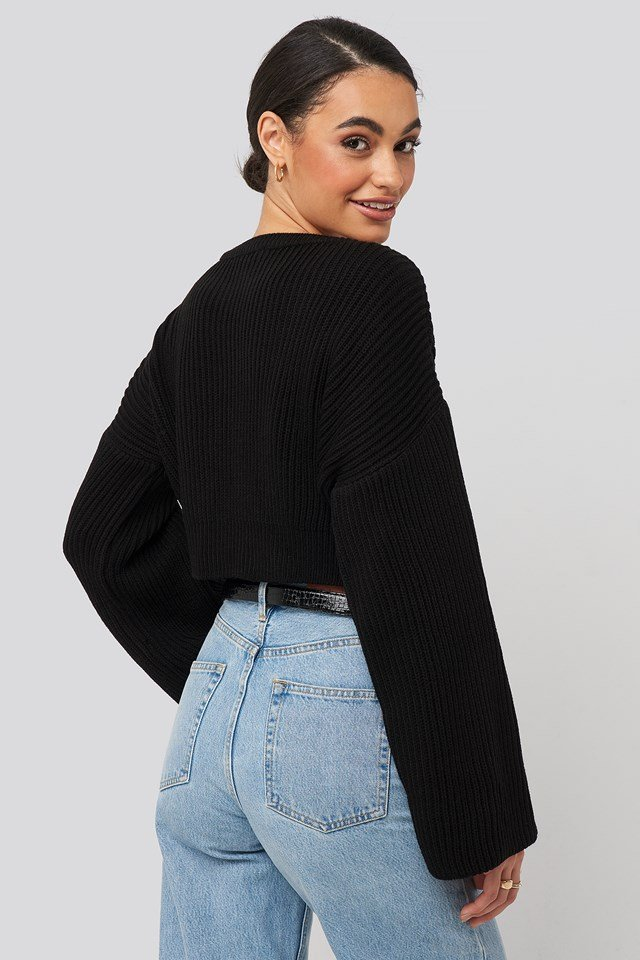 Crop Knitted Sweater Black