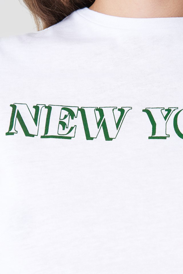 Cropped Knot New York Tee White