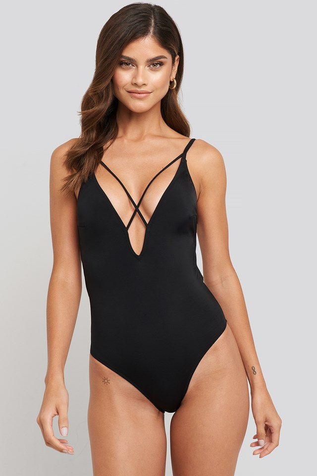 Cross Back Swimsuit Black