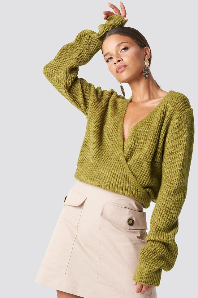 Crossed Knitted Sweater Khaki