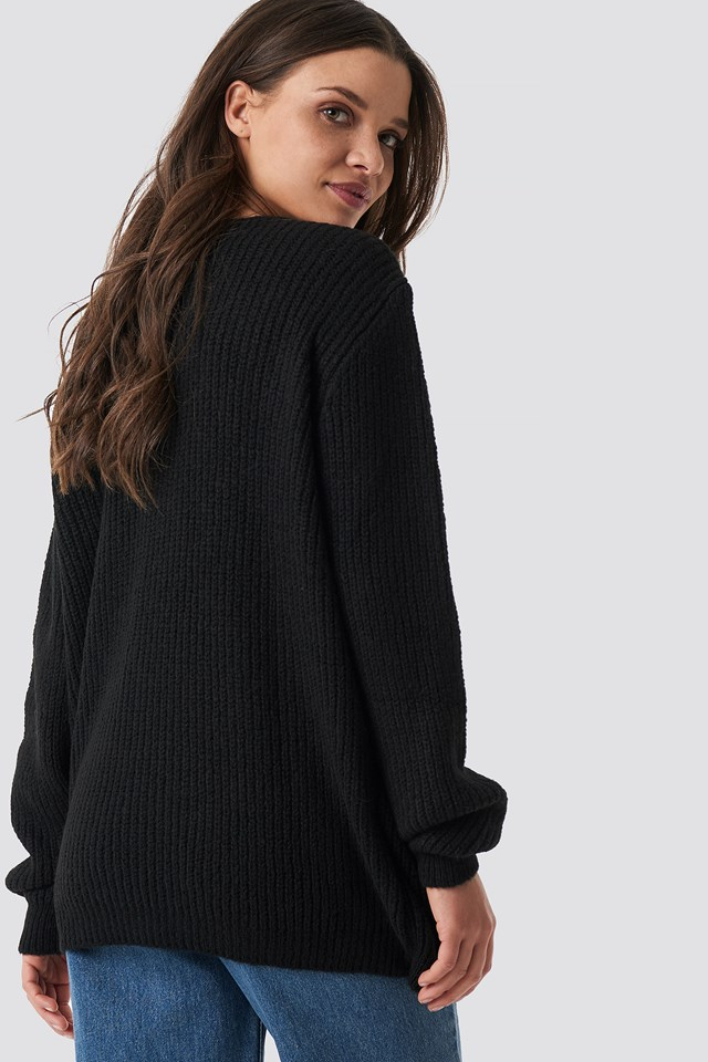Crossed Knitted Sweater Black