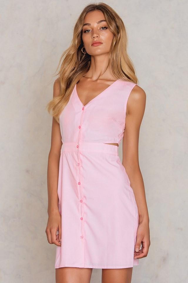 Cut Out Button Dress Pink