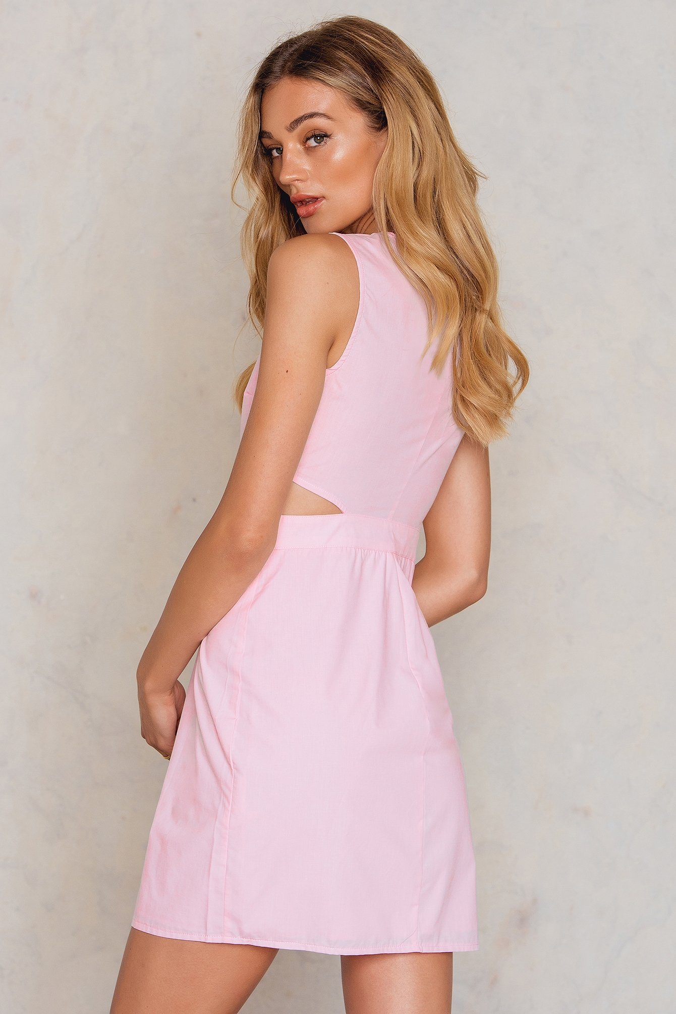 Pink Cut Out Button Dress