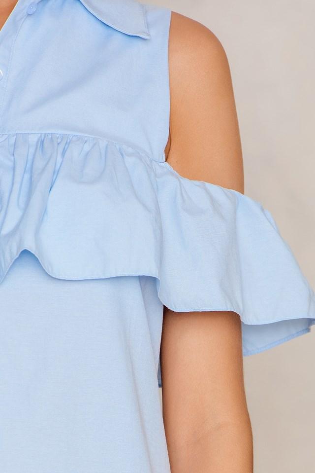 Cut Out Frill Dress Blue