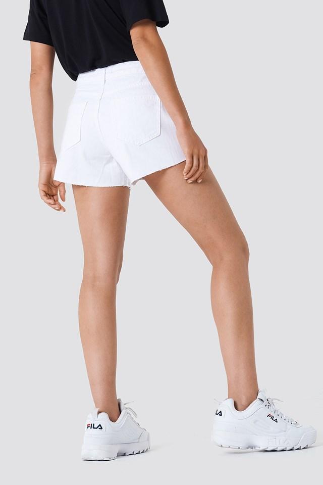 Cutted Hem Denim Shorts White