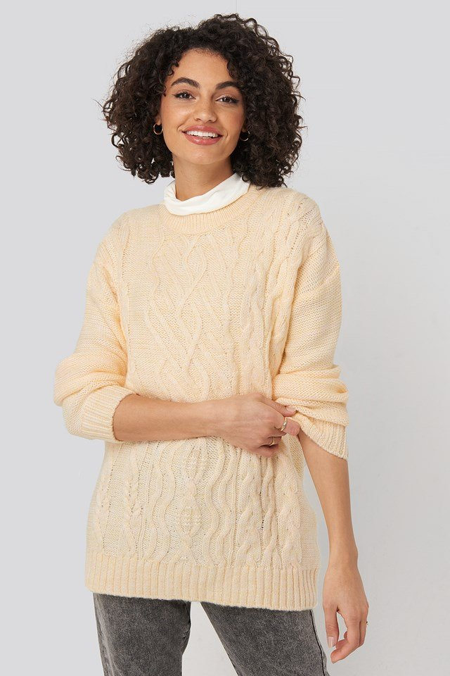 Cycling Collar Knitted Sweater Yellow