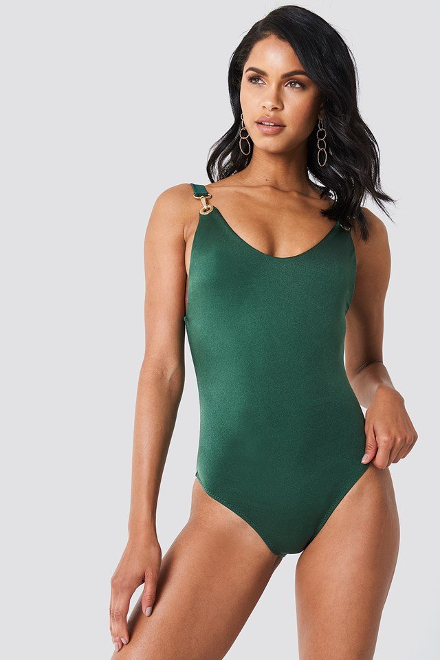 Deep Back Gold Buckle Swimsuit NA-KD.COM
