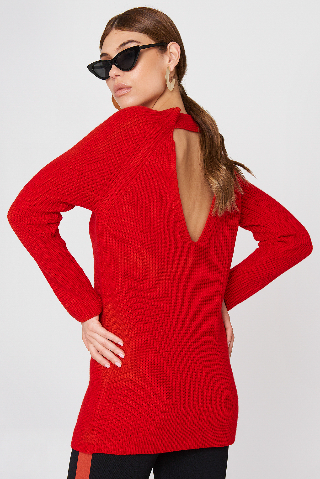 Deep Back Knitted Sweater NA-KD.COM