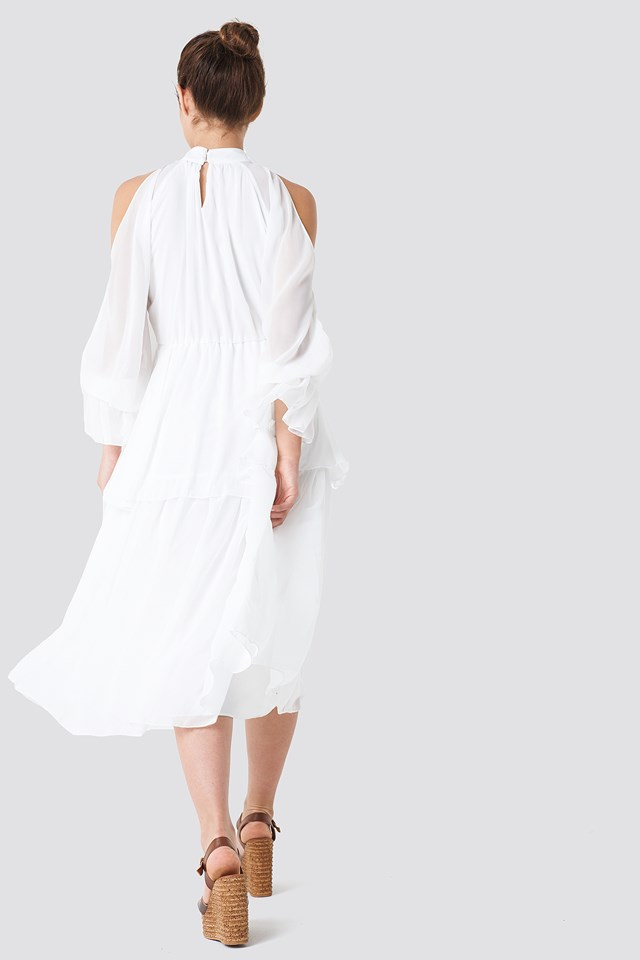 Deco Shoulder Detailed Midi Dress White