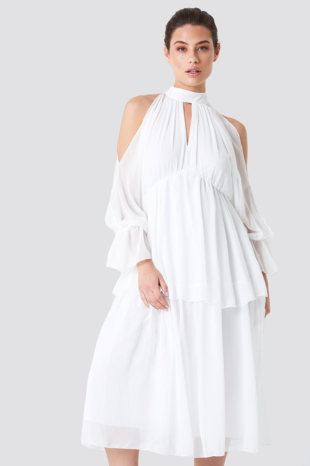 Deco Shoulder Detailed Midi Dress White