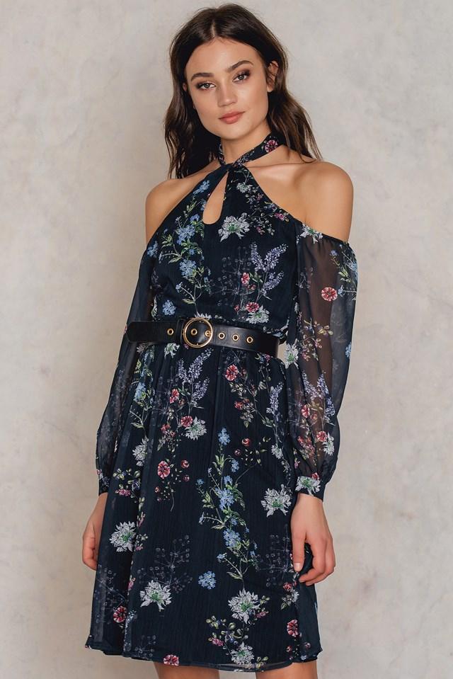 Desenli Off Shoulder Dress Patterned