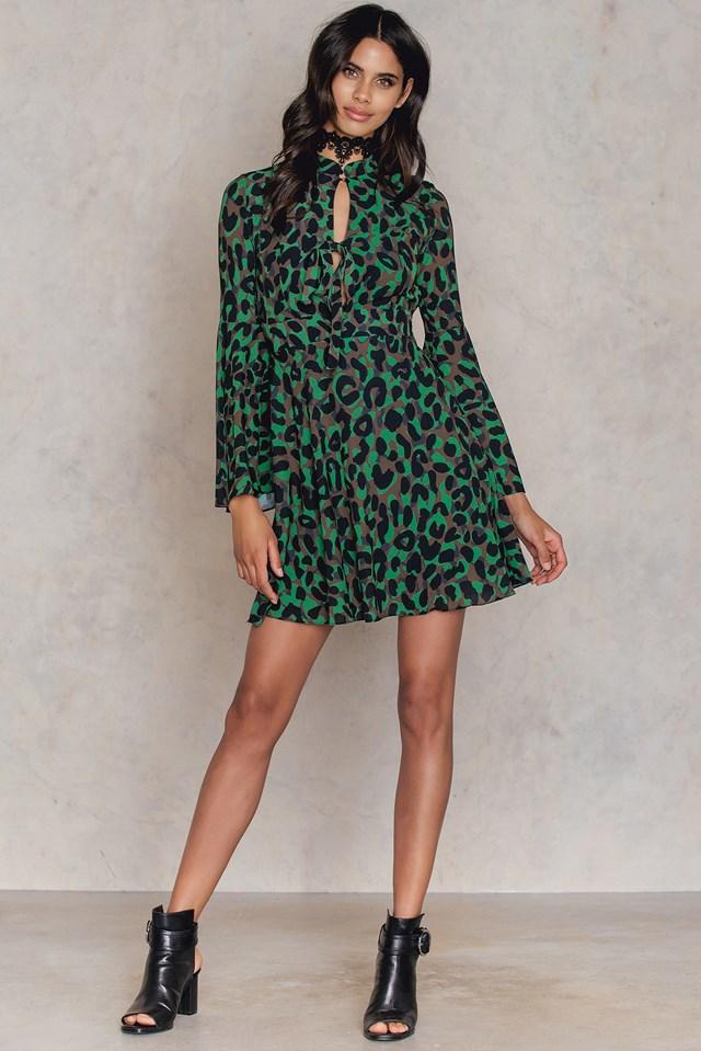 Desenli Wide Sleeve Dress Patterned
