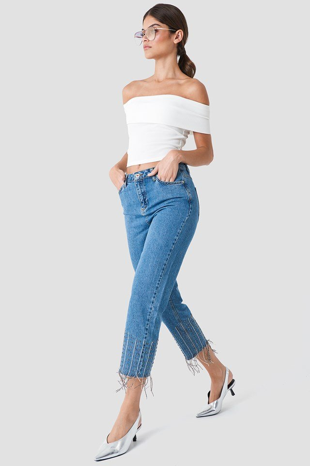 Detailed High Waisted Jeans Blue