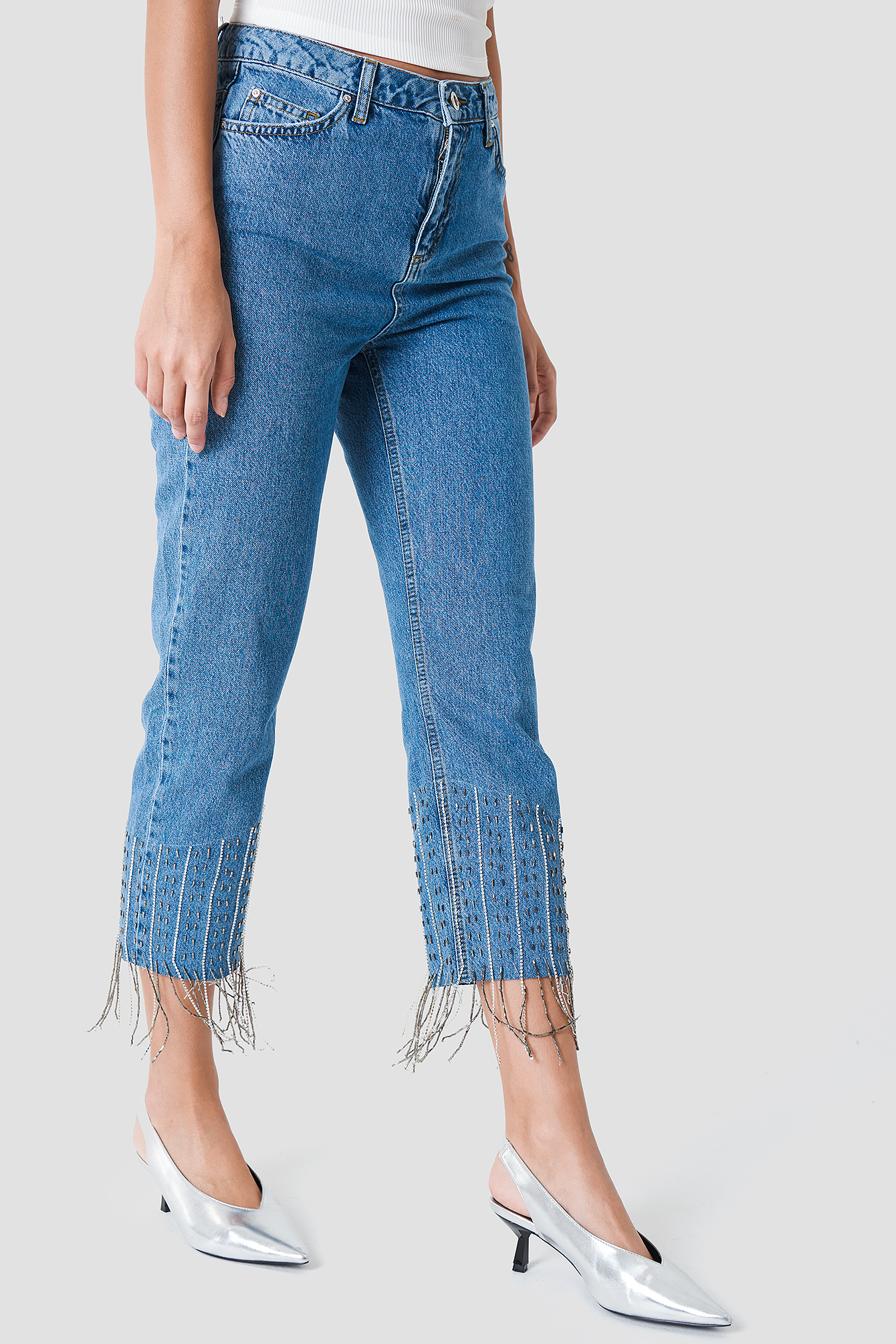 Detailed High Waisted Jeans NA-KD.COM